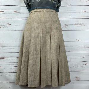 BCBGMaxAzria Skirt Lined Tan Pleated Linen Blend